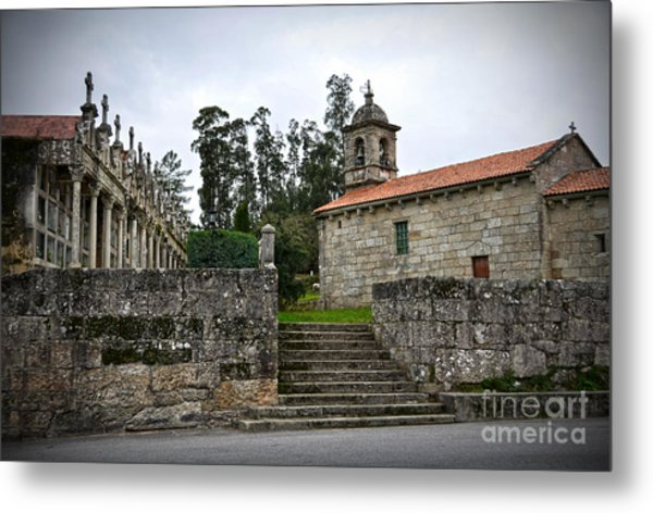 Church And Cemetery In A Small Village In Galicia Metal Print