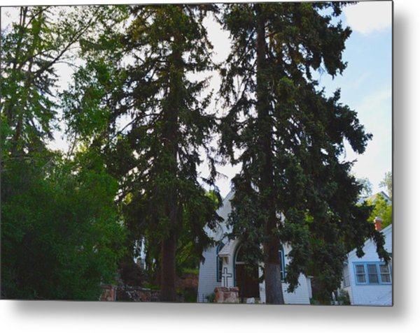 Church And Trees. Metal Print by Maegan Dann