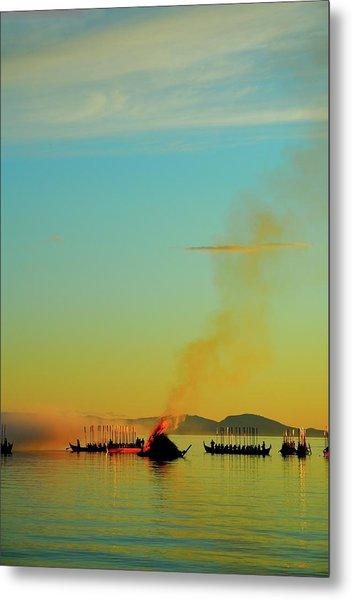 Church Boats On The Lake Siljan Metal Print by Anders Ludvigson