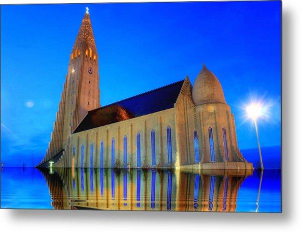 Church In A Water Metal Print