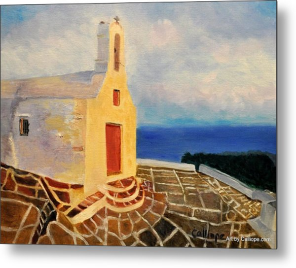 Church In Ios Greece Metal Print