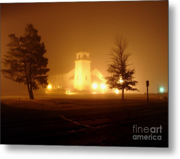 Church In The Fog Metal Print