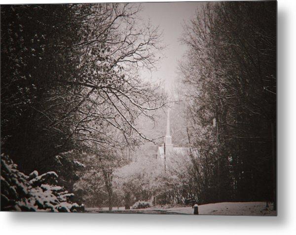 Church In The Snow  Metal Print