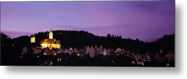 Church Lit Up At Dusk In A Town, Horb Metal Print