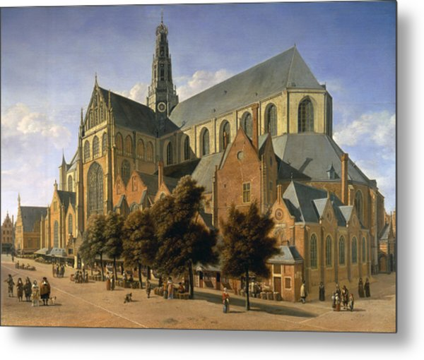 Church Of St. Bavo In Haarlem, 1666 Oil On Panel Metal Print