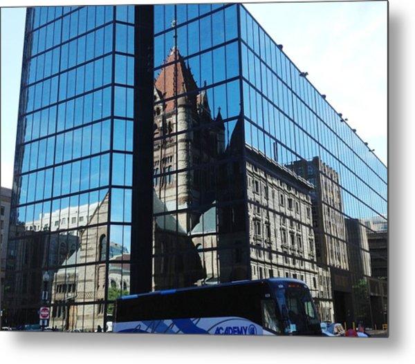 Church Reflection Boston Metal Print