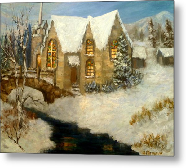 Church Snow Paintings Metal Print