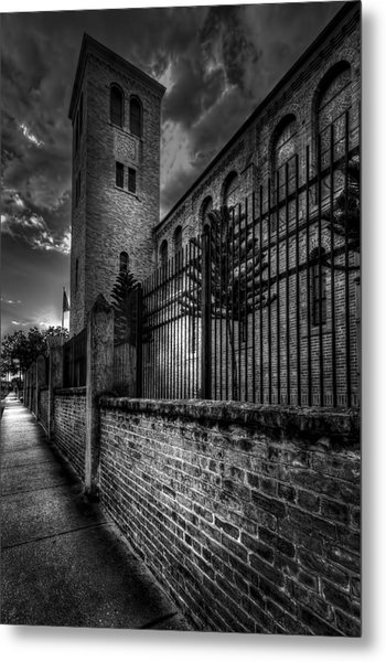 Church Tower In The Clouds Metal Print