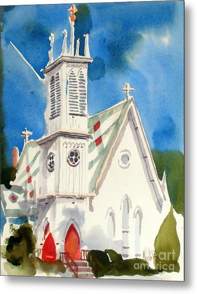 Church With Jet Contrail Metal Print