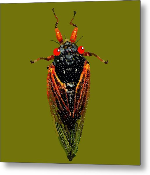 Cicada In Green Metal Print