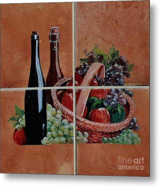 Cider And Apple Basket Metal Print