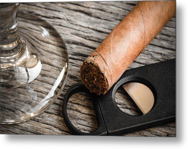 Cigar And Cutter With Glass Of Brandy Or Whiskey On Wooden Backg Metal Print