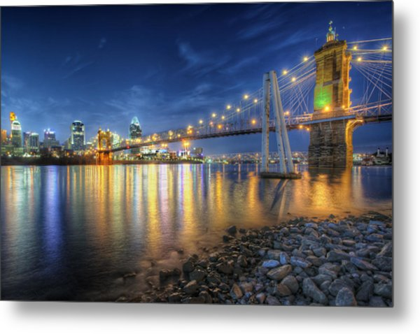 Cincinnati Skyline And Bridge At Night Metal Print