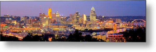 Cincinnati Skyline At Dusk Sunset Color Panorama Ohio Metal Print