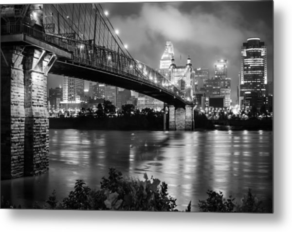 Cincinnati Skyline - John Roebling Bridge And Ohio River Metal Print