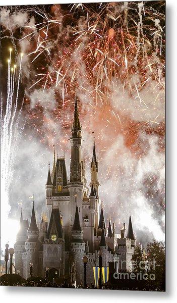 Magic Kingdom Castle Firework Finale Metal Print