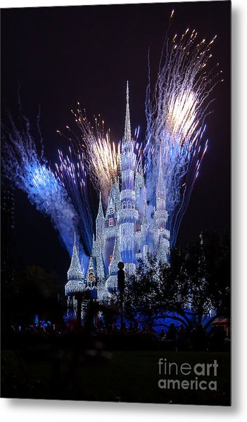Magic Kingdom Castle Frozen Blue Metal Print