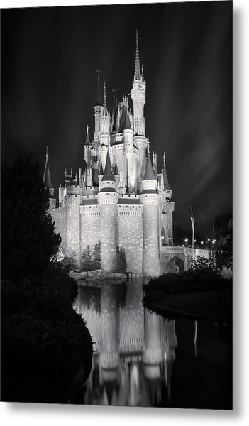 Cinderella's Castle Reflection Black And White Metal Print