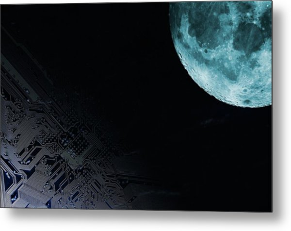Circuit Board And Moon Metal Print by Christian Lagerek/science Photo Library