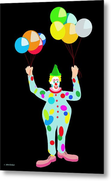 Circus Clown With Balloons Metal Print