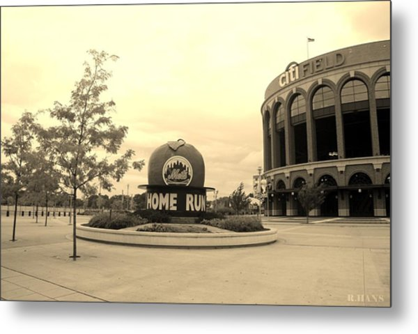 Metal Print featuring the photograph Citi Field In Sepia by Rob Hans