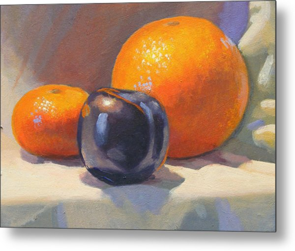 Citrus And Plum Metal Print by Peter Orrock