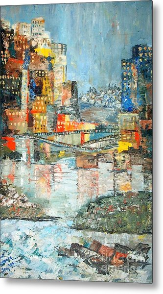 City By The River - Sold Metal Print by Judith Espinoza