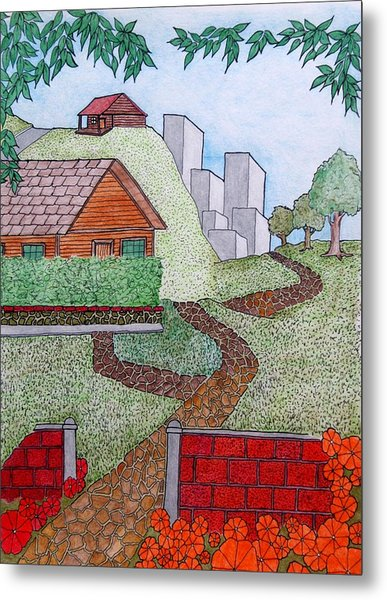 City Cabin Metal Print