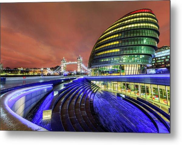 City Hall And Tower Bridge At Night Metal Print by Joe Daniel Price