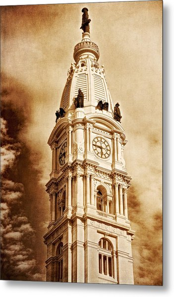 Tower Of City Hall - Downtown Philadelphia - One Penn Square Metal Print