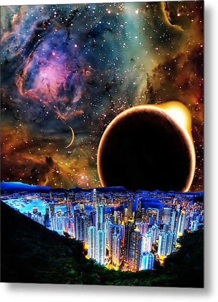 City In Space Metal Print by Bruce Iorio