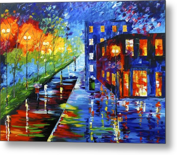 Metal Print featuring the painting City Night by Kevin  Brown