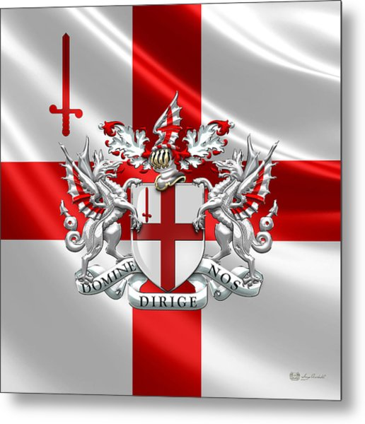 City Of London - Coat Of Arms Over Flag  Metal Print