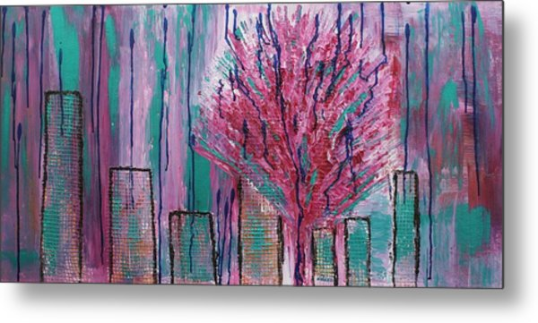 City Pear Tree Metal Print