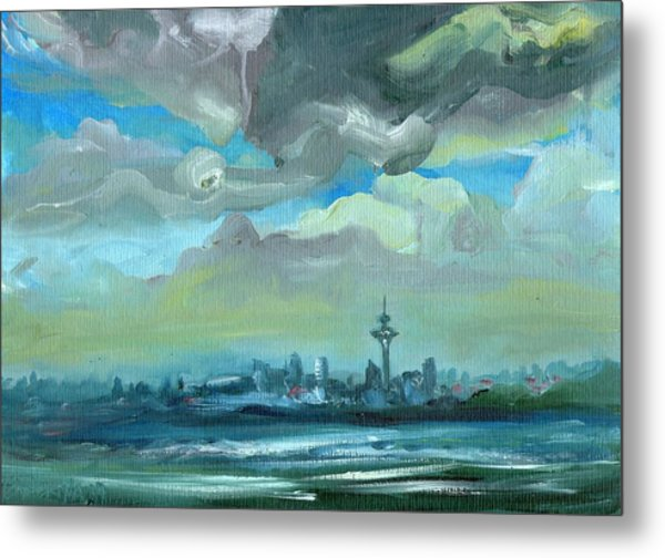 City Skyline Impressionist Painting Metal Print