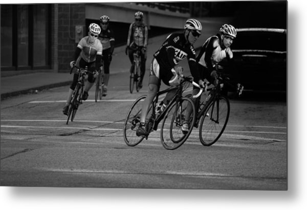 City Street Cycling Metal Print