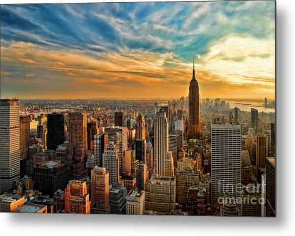 City Sunset New York City Usa Metal Print