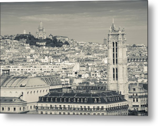 City With St. Jacques Tower Metal Print
