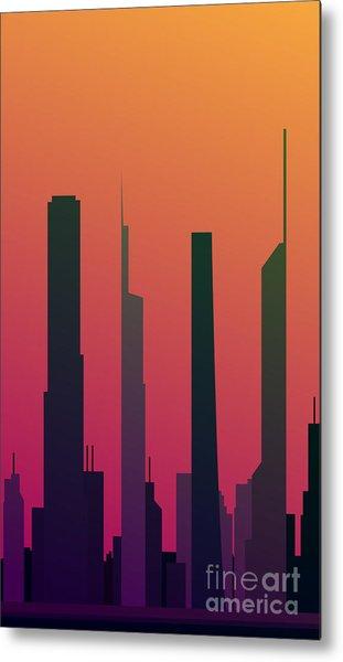 Cityscape Design Orange Version | Eps10 Metal Print
