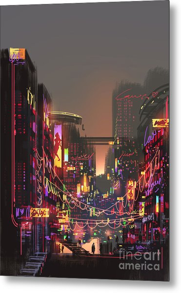 Cityscape Digital Painting Of Building Metal Print