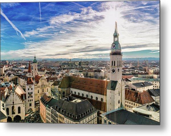 Cityscape Of Munich Metal Print by Michael Fellner