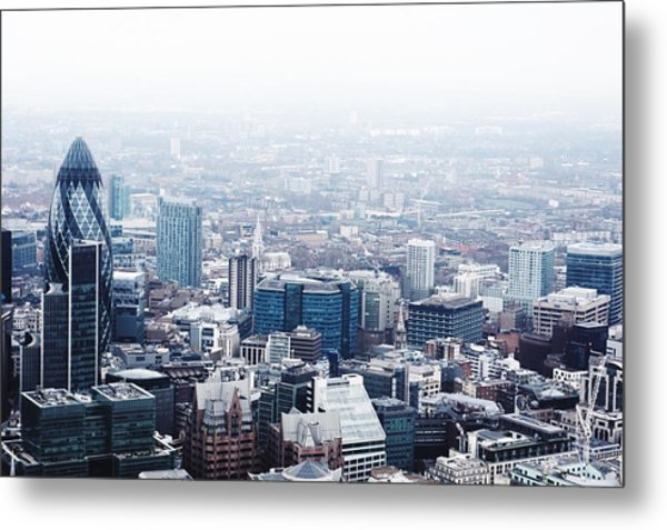 Cityscape With 30 St Mary Axe Against Metal Print by Brett Worth / Eyeem