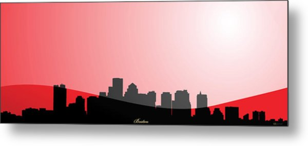 Cityscapes - Boston Skyline In Black On Red Metal Print