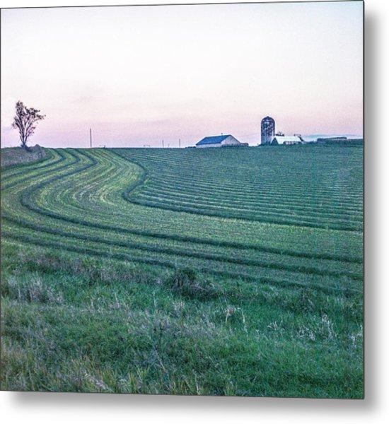 Farm Fields At Dusk Metal Print