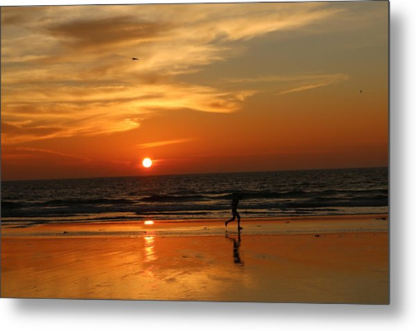 Clam Digging At Sunset - 3 Metal Print