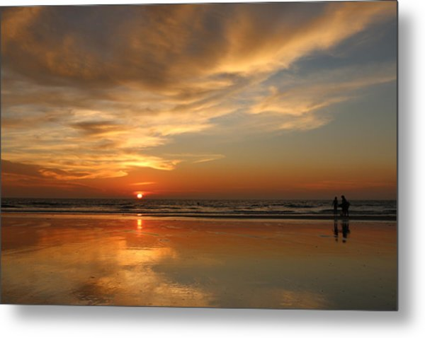 Clam Digging At Sunset - 4 Metal Print