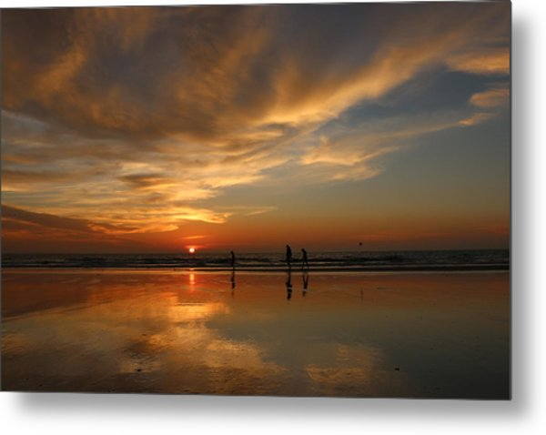 Clam Digging At Sunset -1  Metal Print