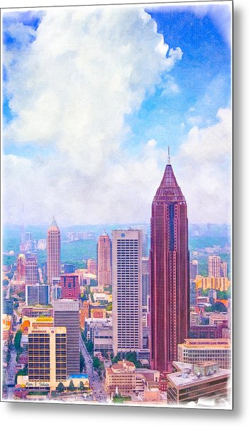 Classic Atlanta Midtown Skyline Metal Print
