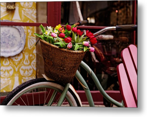 Classic Bike With Tulips Metal Print