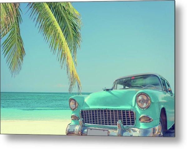 Classic Car On A Tropical Beach With Metal Print by Delpixart